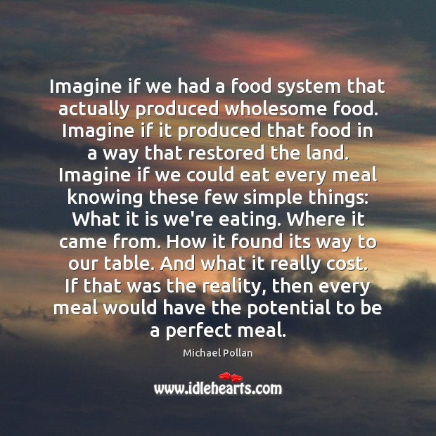 Imagine if we had a food system that actually produced wholesome food. Michael Pollan Picture Quote