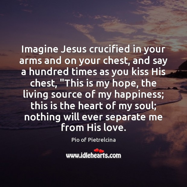 Imagine Jesus crucified in your arms and on your chest, and say Pio of Pietrelcina Picture Quote