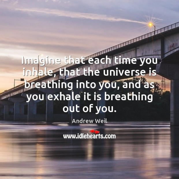Imagine that each time you inhale, that the universe is breathing into Andrew Weil Picture Quote