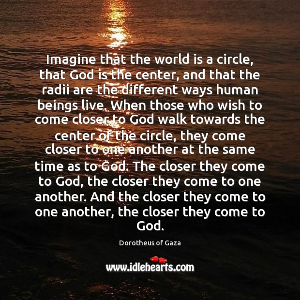Image, Imagine that the world is a circle, that God is the center,