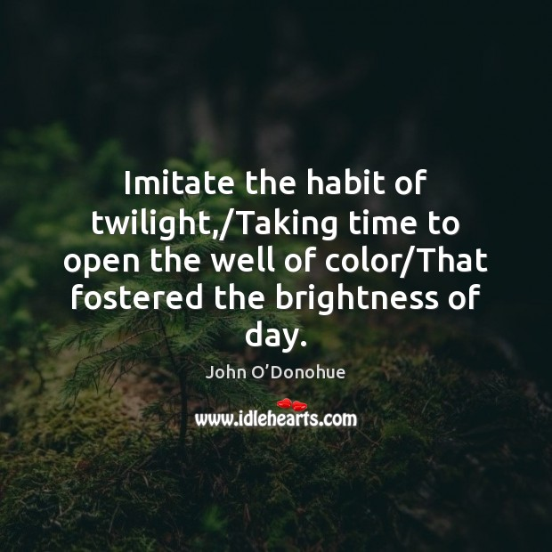 Imitate the habit of twilight,/Taking time to open the well of John O'Donohue Picture Quote