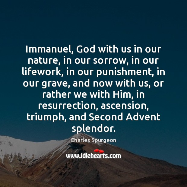 Immanuel, God with us in our nature, in our sorrow, in our Image