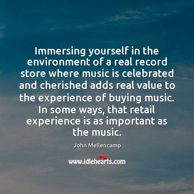 Immersing yourself in the environment of a real record store where music Experience Quotes Image