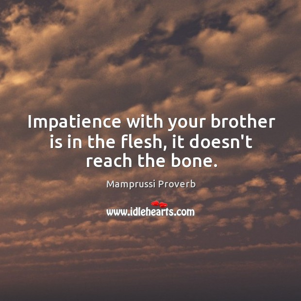 Impatience with your brother is in the flesh, it doesn't reach the bone. Mamprussi Proverbs Image
