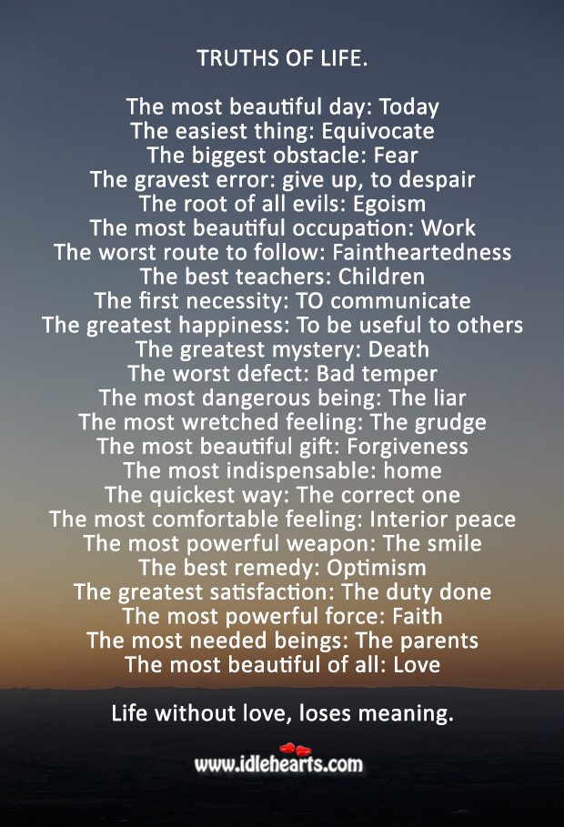 Important truths I've learned about life Truth Quotes Image