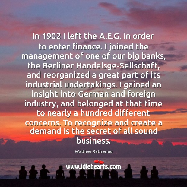 In 1902 I left the A.E.G. in order to enter finance. Finance Quotes Image