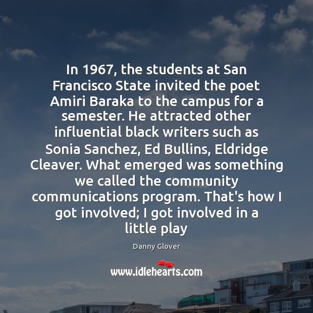 In 1967, the students at San Francisco State invited the poet Amiri Baraka Image
