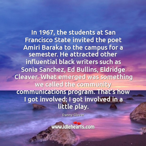 In 1967, the students at san francisco state invited the poet amiri baraka to the campus for a semester. Image