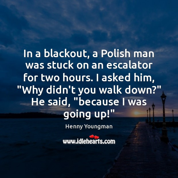 In a blackout, a Polish man was stuck on an escalator for Image
