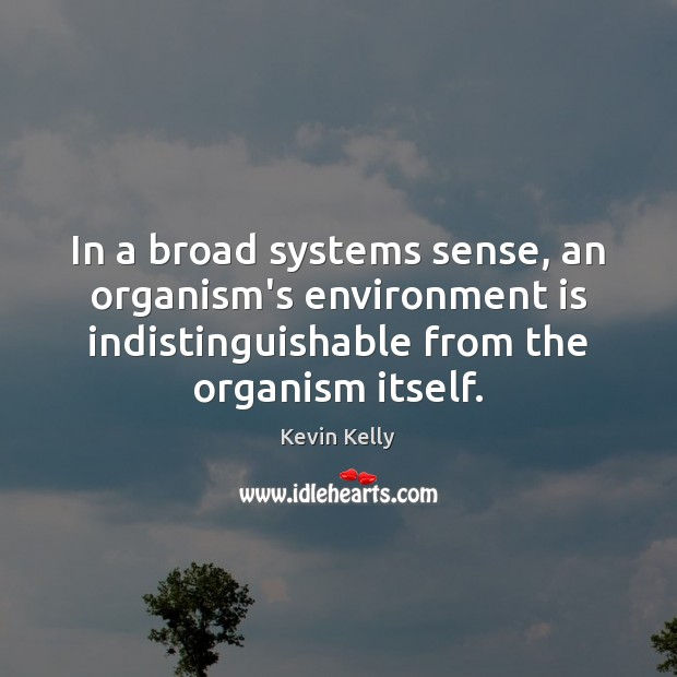 In a broad systems sense, an organism's environment is indistinguishable from the Kevin Kelly Picture Quote