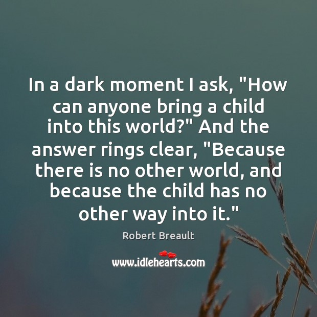 """In a dark moment I ask, """"How can anyone bring a child Image"""