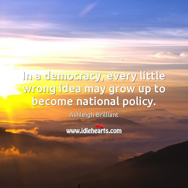 In a democracy, every little wrong idea may grow up to become national policy. Ashleigh Brilliant Picture Quote