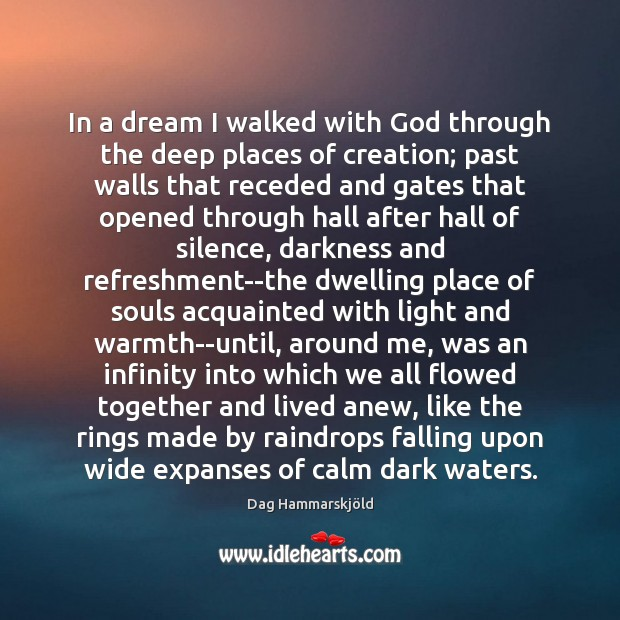 Image, In a dream I walked with God through the deep places of