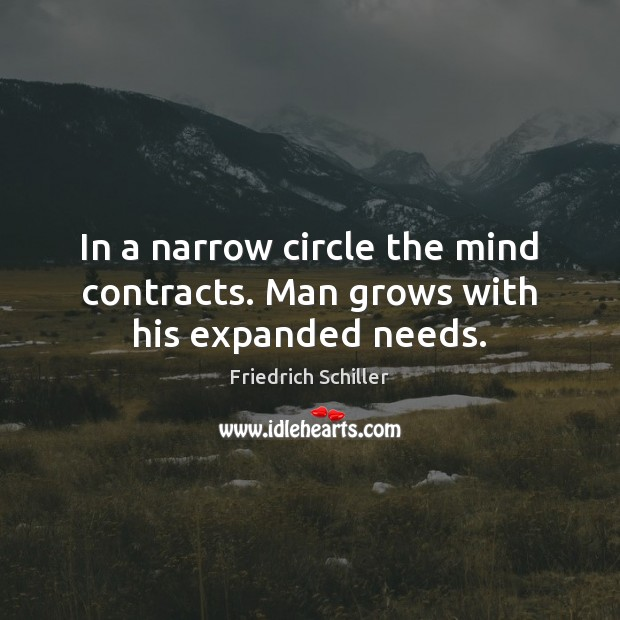 In a narrow circle the mind contracts. Man grows with his expanded needs. Friedrich Schiller Picture Quote