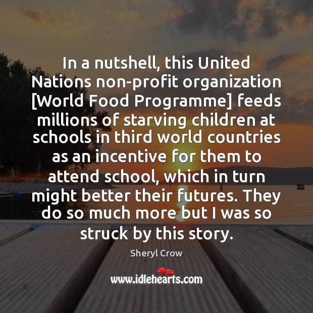 In a nutshell, this United Nations non-profit organization [World Food Programme] feeds Sheryl Crow Picture Quote