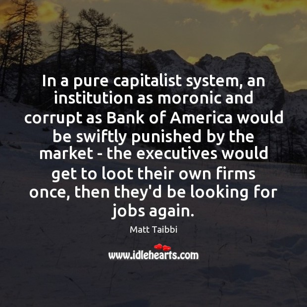 Image, In a pure capitalist system, an institution as moronic and corrupt as