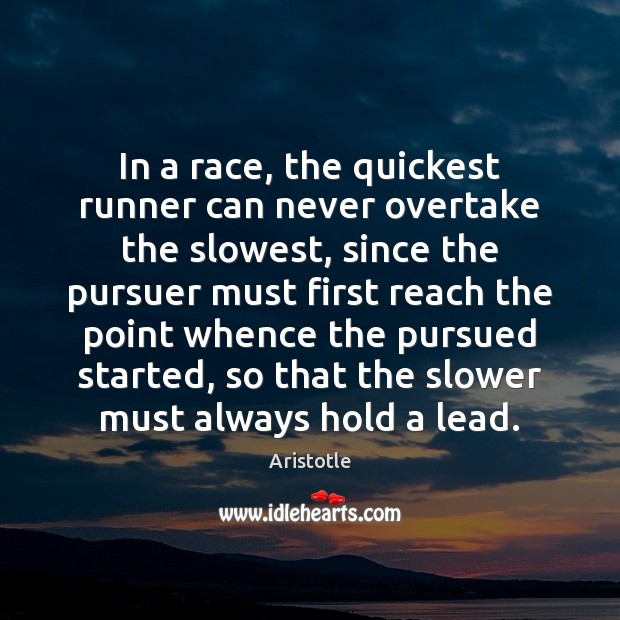 Image, In a race, the quickest runner can never overtake the slowest, since