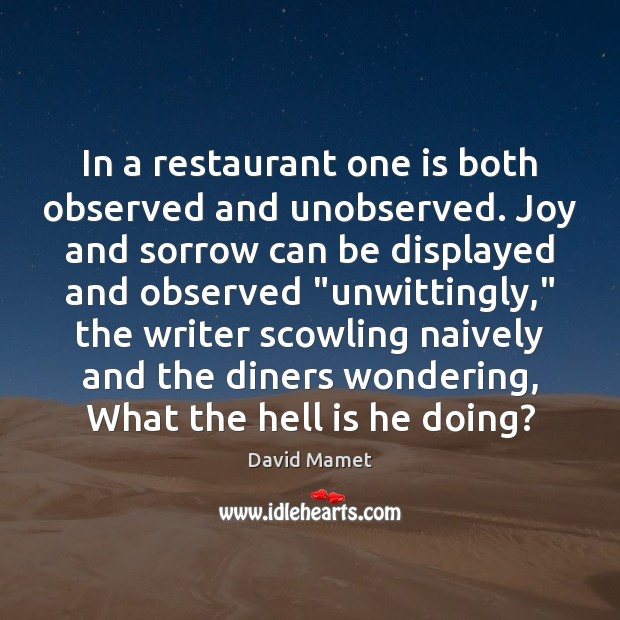 Image, In a restaurant one is both observed and unobserved. Joy and sorrow