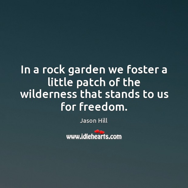 In a rock garden we foster a little patch of the wilderness that stands to us for freedom. Image