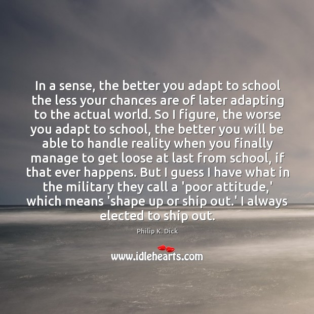 In a sense, the better you adapt to school the less your Image