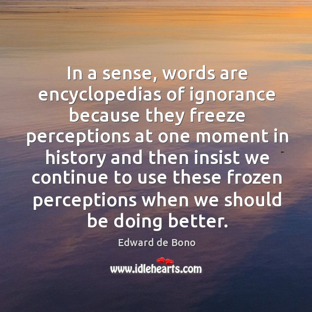 Image, In a sense, words are encyclopedias of ignorance because they freeze