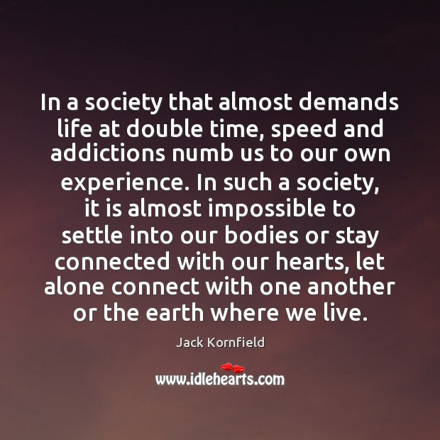 In a society that almost demands life at double time, speed and Jack Kornfield Picture Quote