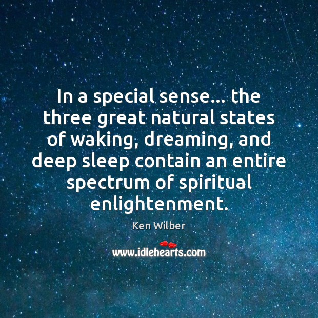In a special sense… the three great natural states of waking, dreaming, Image