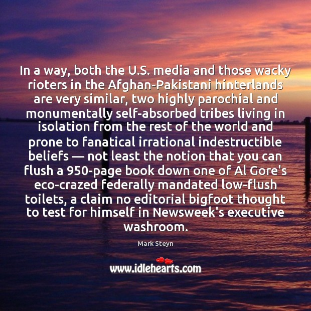 In a way, both the U.S. media and those wacky rioters Mark Steyn Picture Quote