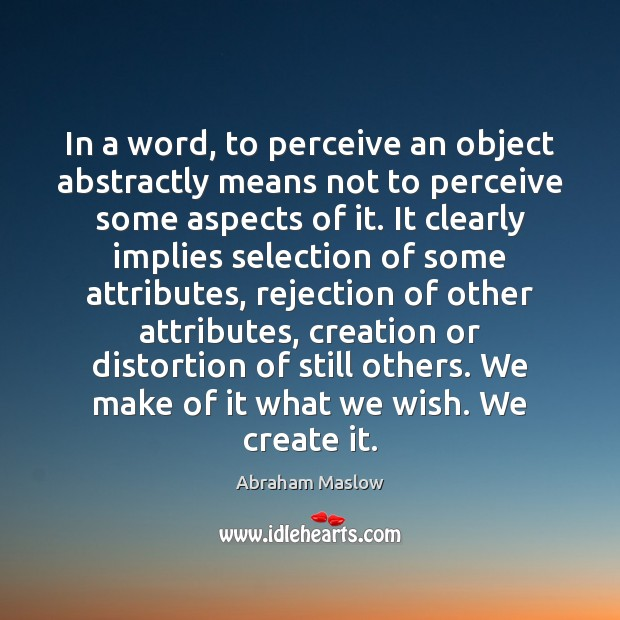 Image, In a word, to perceive an object abstractly means not to perceive