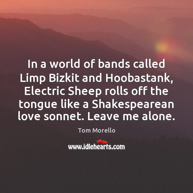 In a world of bands called Limp Bizkit and Hoobastank, Electric Sheep Tom Morello Picture Quote