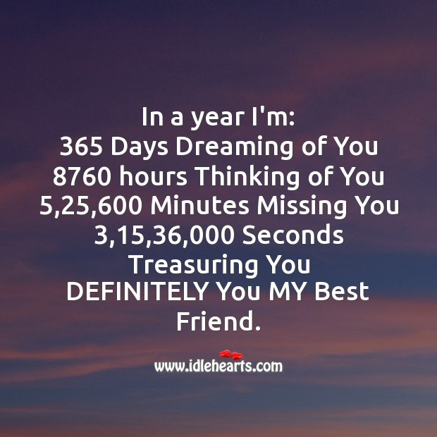 In a year i'm: 365 days dreaming of you Missing You Quotes Image