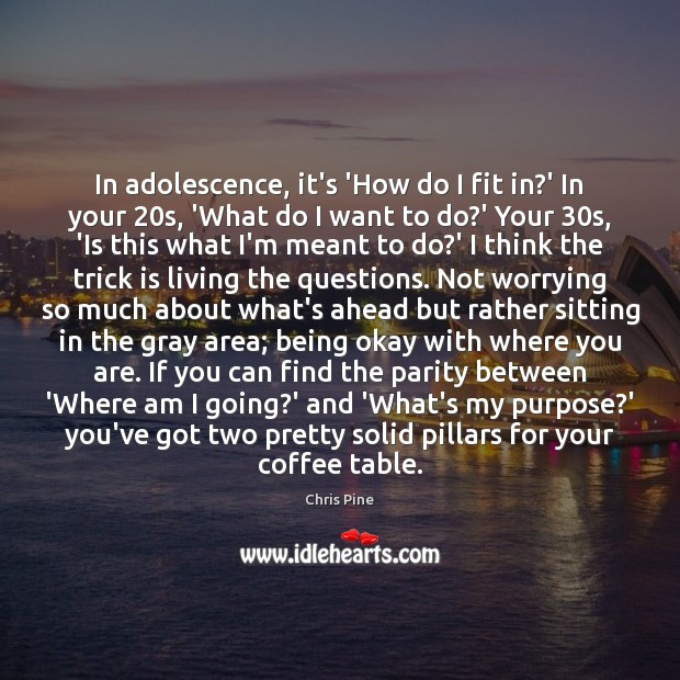 Image, In adolescence, it's 'How do I fit in?' In your 20s,
