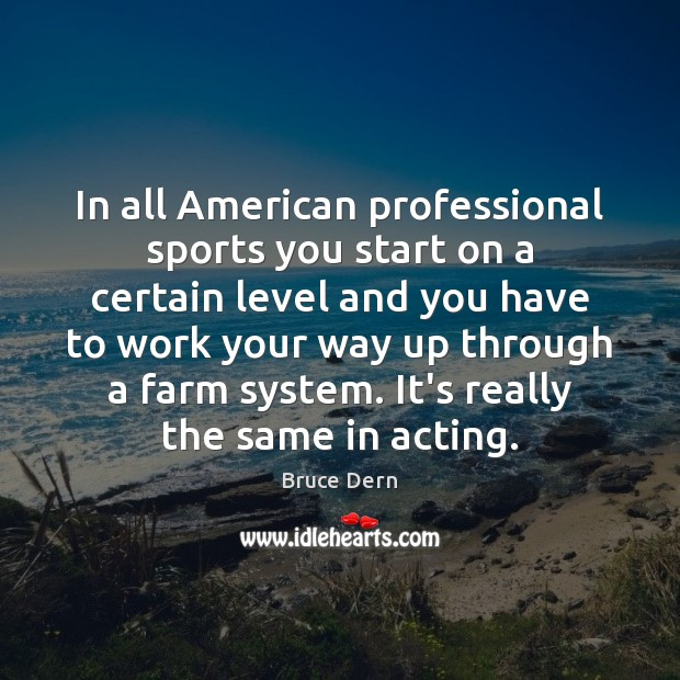 Image, In all American professional sports you start on a certain level and