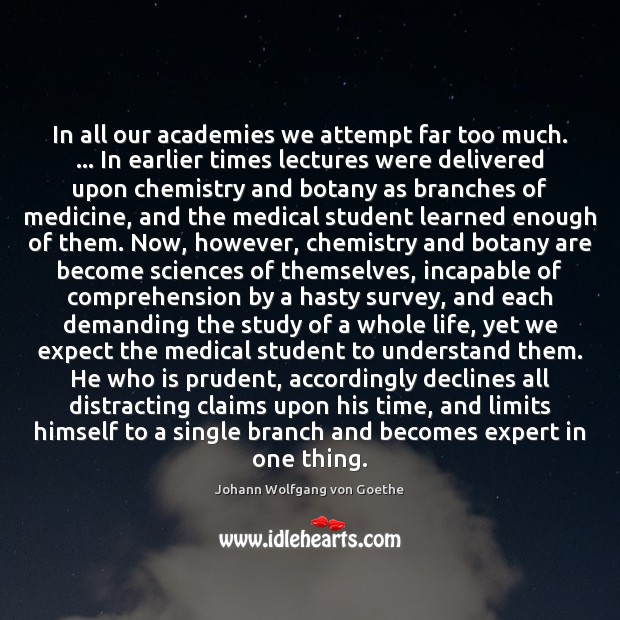 Image, In all our academies we attempt far too much. … In earlier times