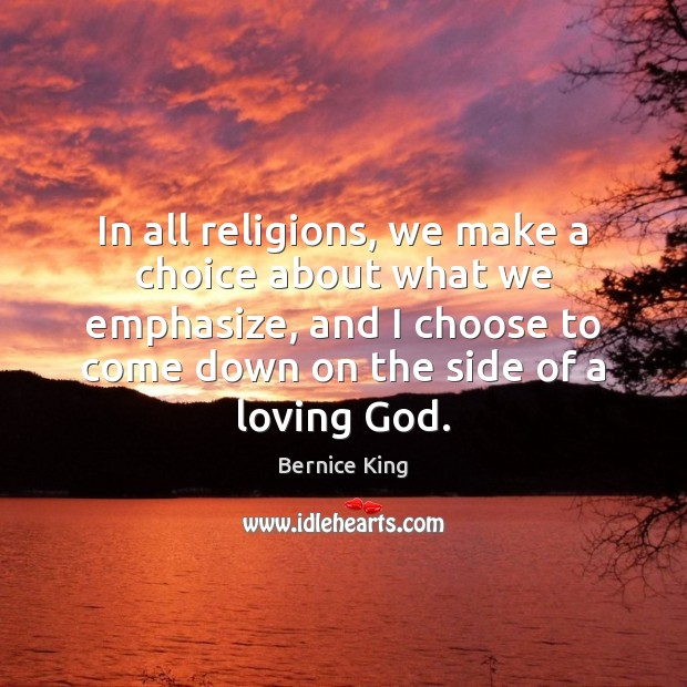 Image, In all religions, we make a choice about what we emphasize, and