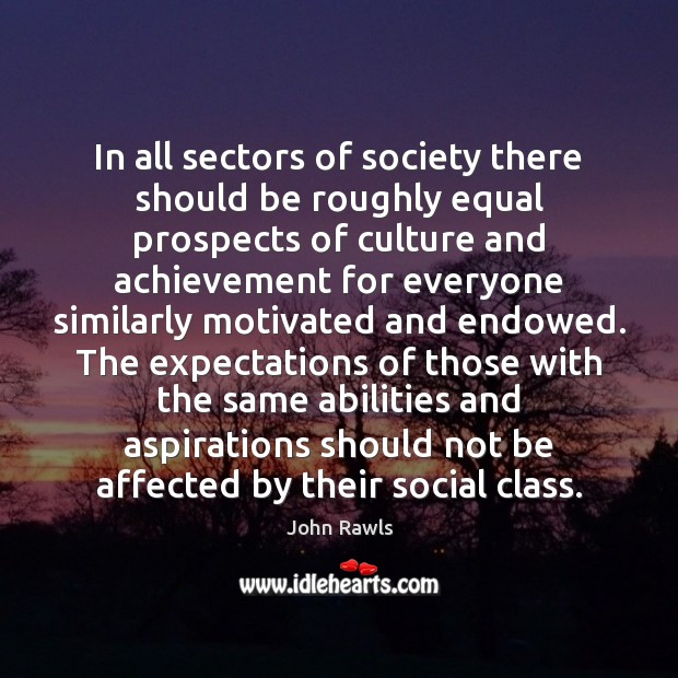 Image, In all sectors of society there should be roughly equal prospects of