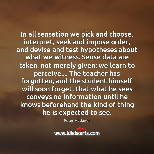 In all sensation we pick and choose, interpret, seek and impose order, Image