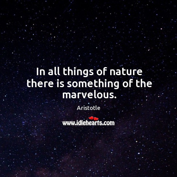 Image, In all things of nature there is something of the marvelous.