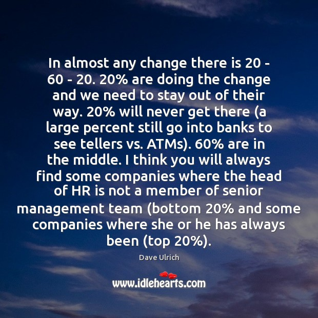 Image, In almost any change there is 20 – 60 – 20. 20% are doing the change