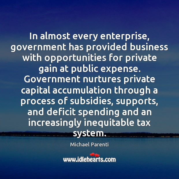 Image, In almost every enterprise, government has provided business with opportunities for private