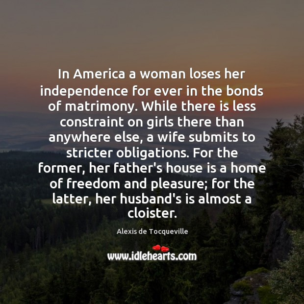 Image, In America a woman loses her independence for ever in the bonds