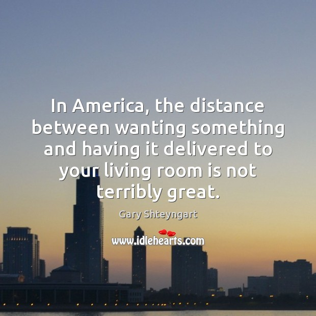 In America, the distance between wanting something and having it delivered to Gary Shteyngart Picture Quote