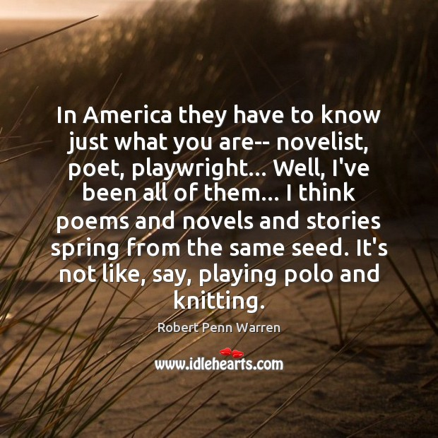 In America they have to know just what you are– novelist, poet, Robert Penn Warren Picture Quote