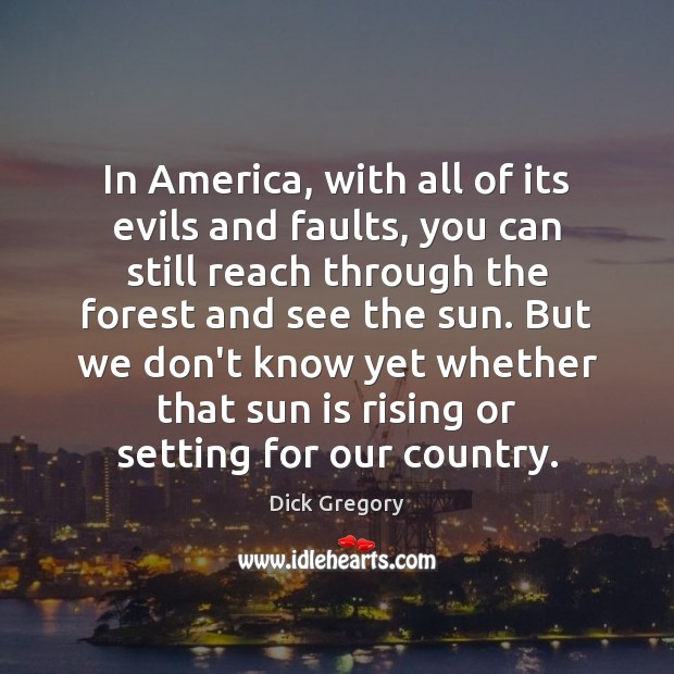 In America, with all of its evils and faults, you can still Dick Gregory Picture Quote