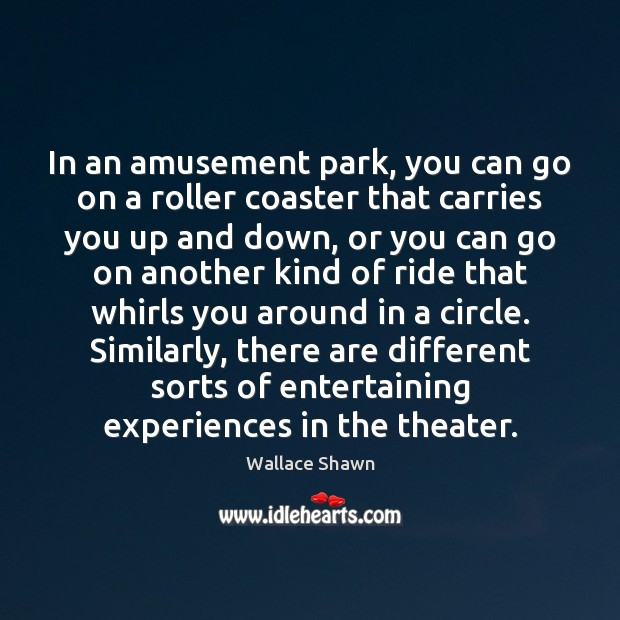 In an amusement park, you can go on a roller coaster that Wallace Shawn Picture Quote