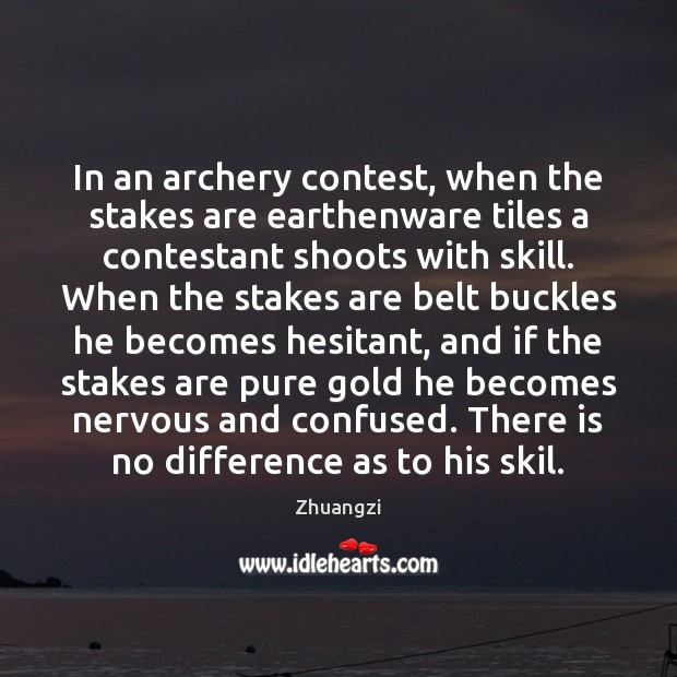 In an archery contest, when the stakes are earthenware tiles a contestant Image