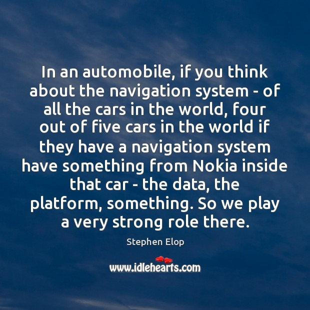 In an automobile, if you think about the navigation system – of Image