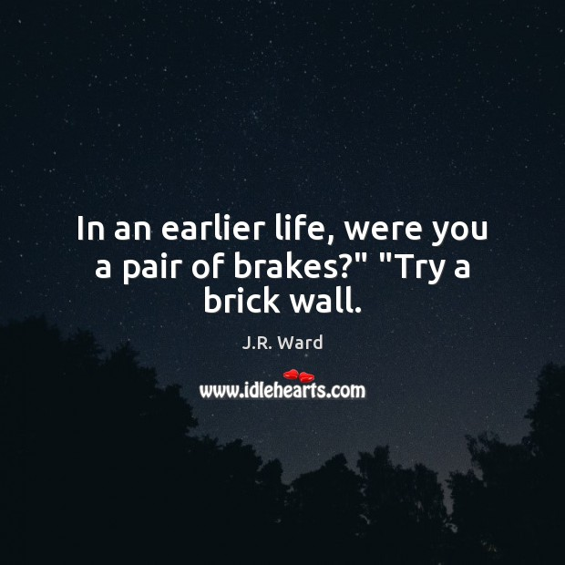 """Image, In an earlier life, were you a pair of brakes?"""" """"Try a brick wall."""