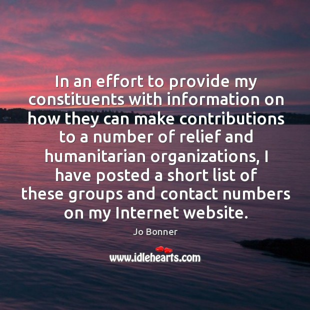 In an effort to provide my constituents with information on how they can make contributions Image