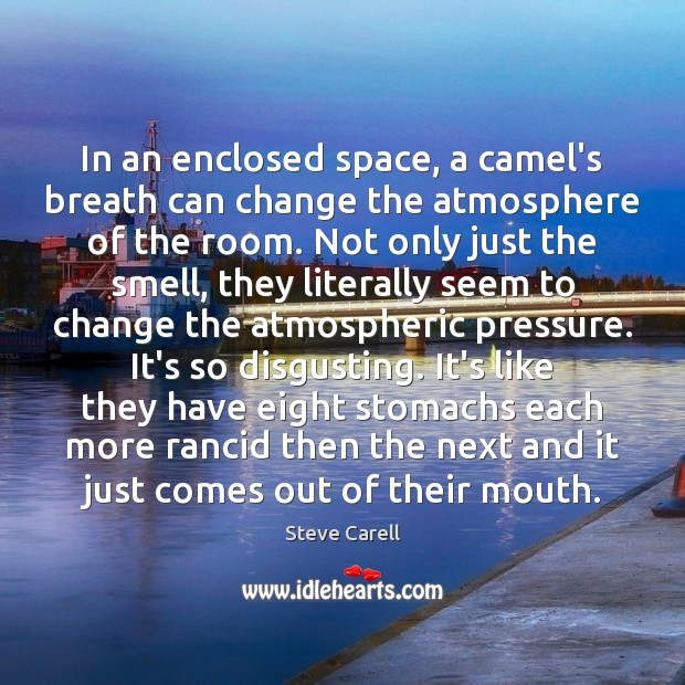 In an enclosed space, a camel's breath can change the atmosphere of Steve Carell Picture Quote